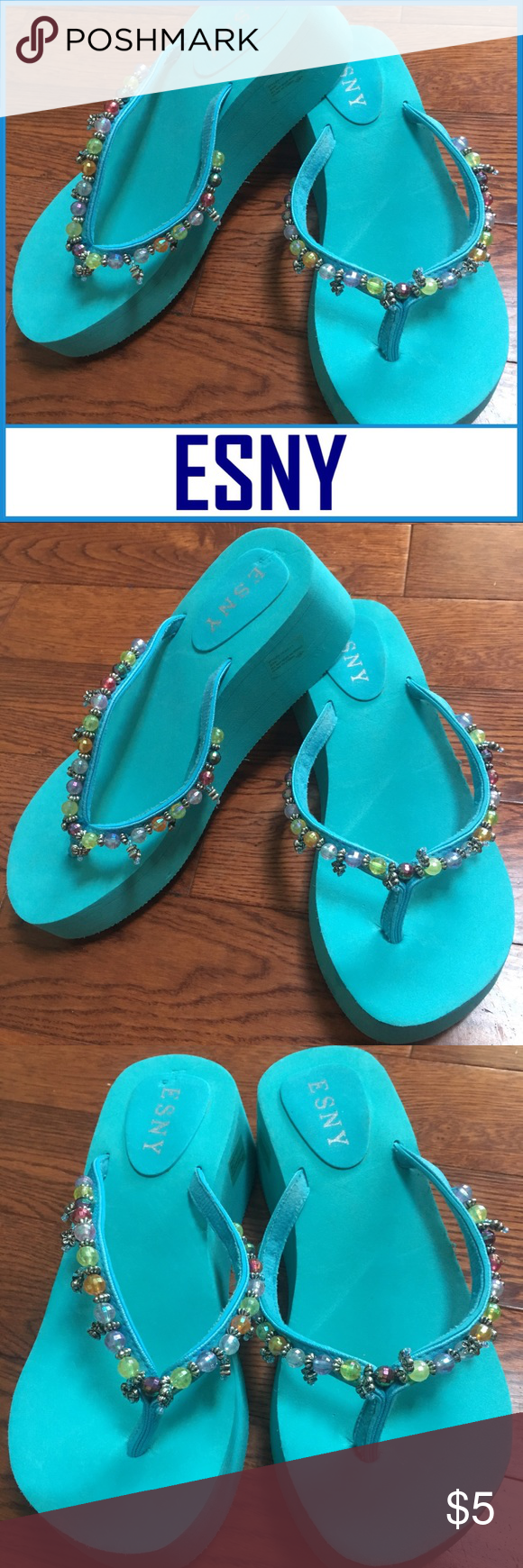 b31db8ed6ba15 ESNY Women s Aqua Beaded Flip Flops Size 7US ESNY Women s Aqua Beaded Flip  Flops Size 7US ▫️Never worn but a few brown markings on soles.