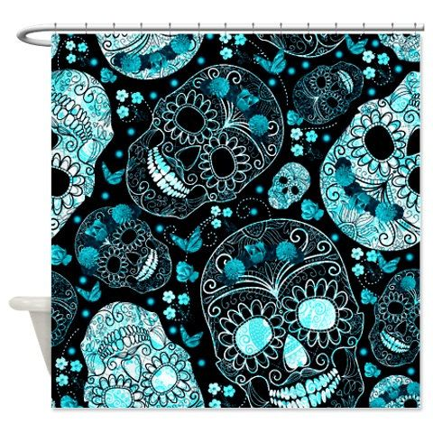 Sugar Skull Shower Curtain Turquoise Aqua Black By FolkandFunky