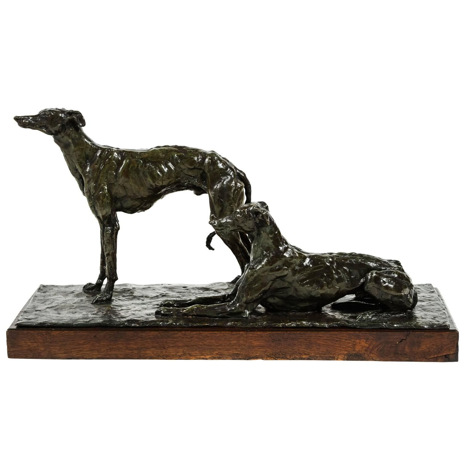 Unique French Cire Perdu Bronze of Greyhounds by Ir�n�e Rochard | From a unique collection of antique and modern sculptures at https://www.1stdibs.com/furniture/decorative-objects/sculptures/