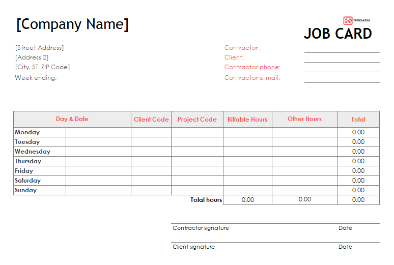 Job Card Templates Excel 5 Templates Example Templates Example Job Cards Card Template Professional Templates