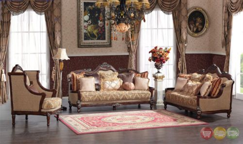 Traditional Victorian Luxury Sofa & Love Seat Formal Living Room Magnificent Luxury Living Rooms Furniture Design Inspiration