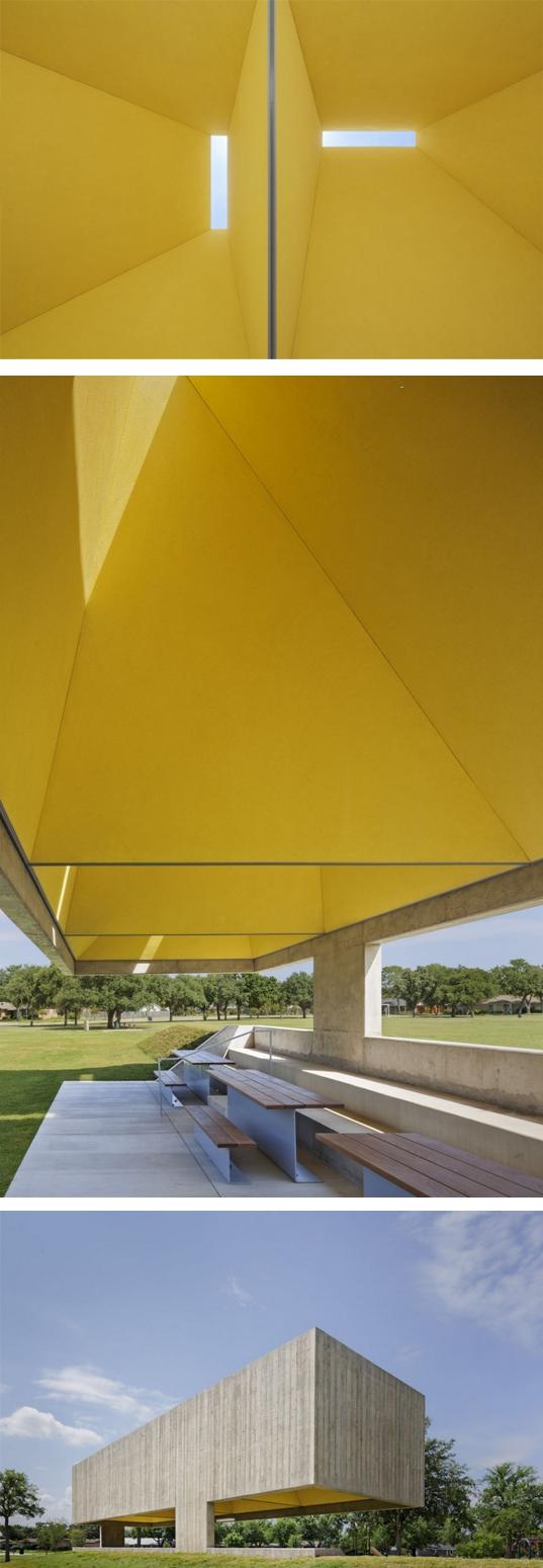 Exaggerated space + colour choice. Webb Chapel Park Pavilion by Cooper Joseph Studio