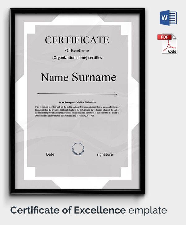Certificate of Excellence Template Bursary Sample certificates