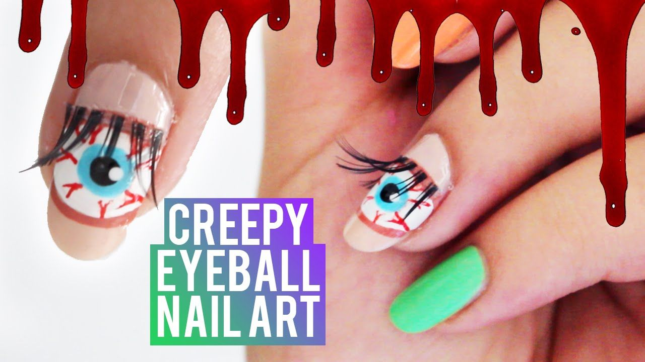 Creepy Eyeball Nail Art using EYELASHES! | Halloween nail ...