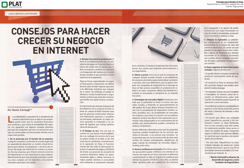Pagosonline: Consejos para hacer crecer los negocios en línea en la revista Enter.co de Colombia (26/04/13)
