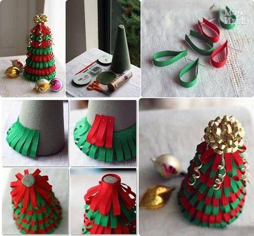 Lavoretti Di Natale Con Nastri.Tutorial Albero Di Natale Con Nastri Il Blog Di Tici Decorazioni Fai Da Te Albero Natale Decorazioni Di Natale Fai Da Te Natale Artigianato