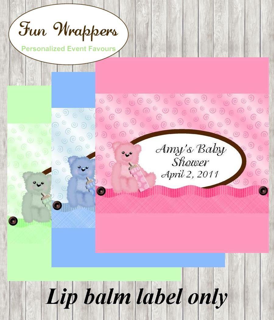 Baby Shower Lip Balm label | Teddy Bear Lip Balm | Baby Shower ...