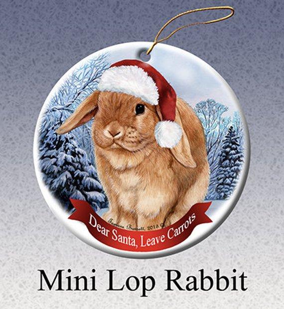 Holiday Pet Gifts Mini Lop Rabbit Santa Hat Dog Porcelain