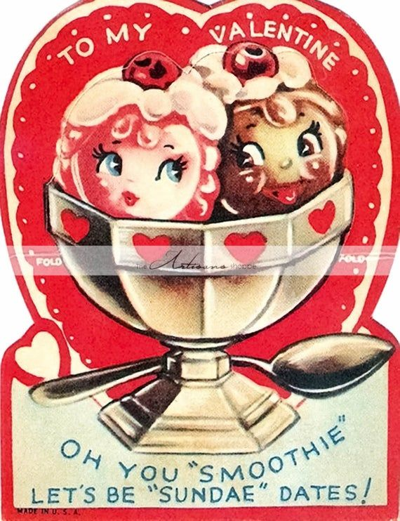 Instant Art Printable Download - Sundae Ice Cream Treat Vintage Valentine's Day Card Art - Paper Cra