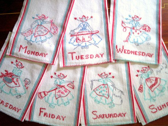 Vintage Kitchen Towels Set Of 7 Days Of The Week Hand Embroidery I Love All The Vintage