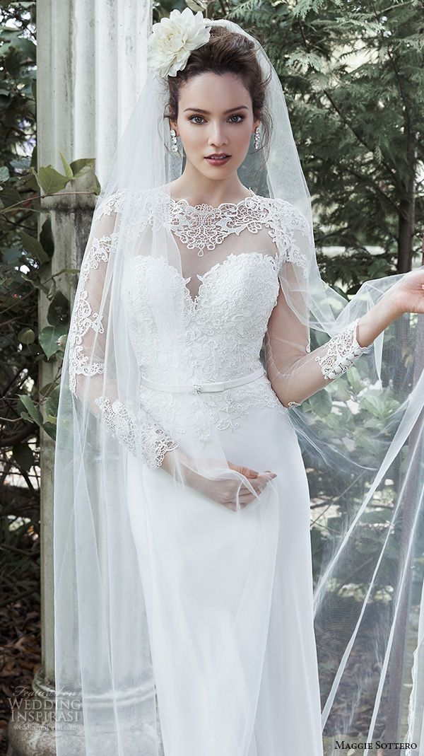 MAGGIE SOTTERO Bridal Fall 2015 Wedding Dresses Romantic Sheath Gown Sheer Sweetheart Neckline Lace