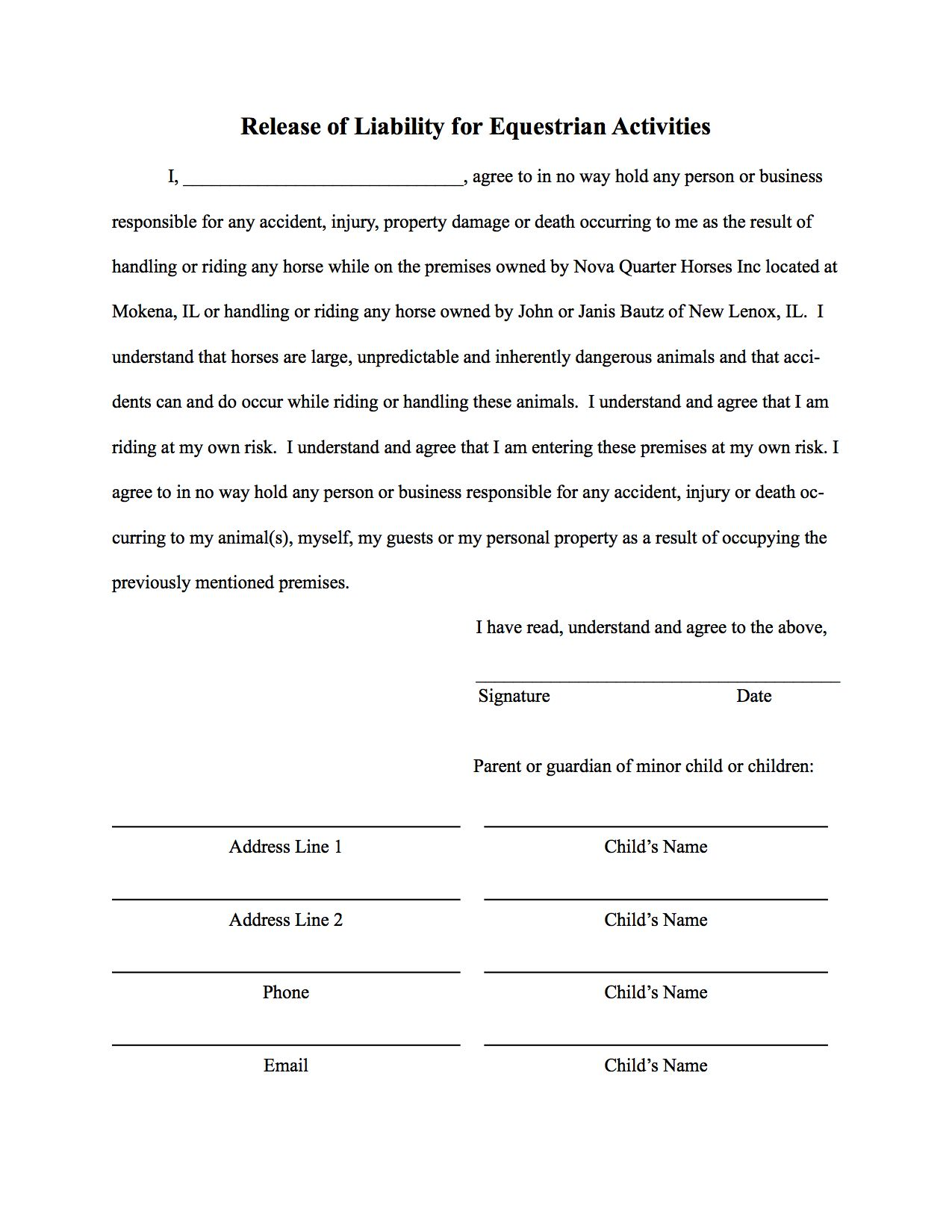Printable Sample Liability Form Form