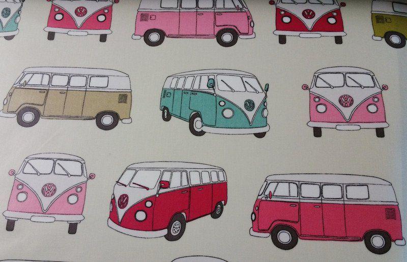 Stoff Autos - NEU VW Bus BULLI- Wachstuch PINK - ein Designerstück von Elbuferstoff bei DaWanda