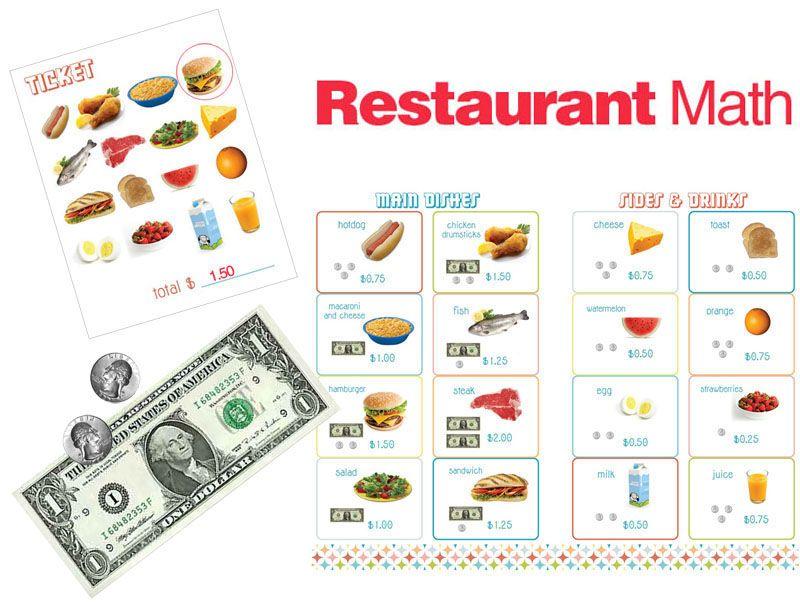 Freebie Restaurant Math For Money The Kids Would Love This Money Math Everyday Math Math Methods