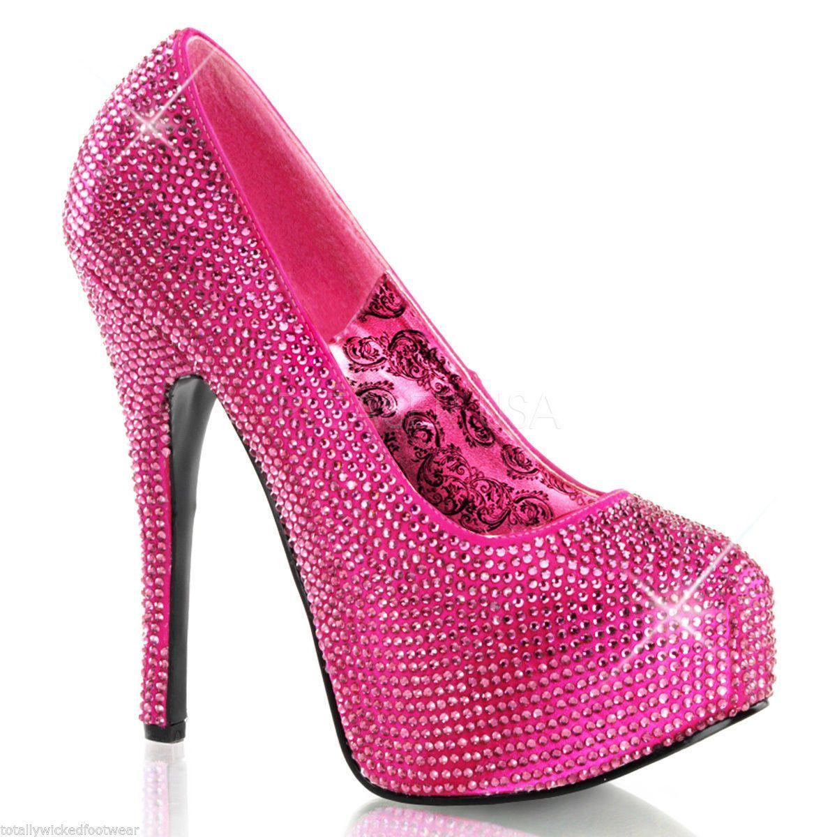 Teeze 06R Hot Pink Satin & Rhinestone Platform 6″ Heel Pump Size 8