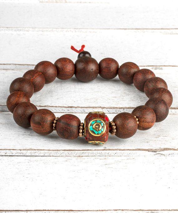 6ecdb8ae49 Natural Red Sandalwood Bracelet, Men Bracelet, Men Beaded Bracelet,  Meditation Bracelet, Wood Bracelet, Tibetan Prayer Beads