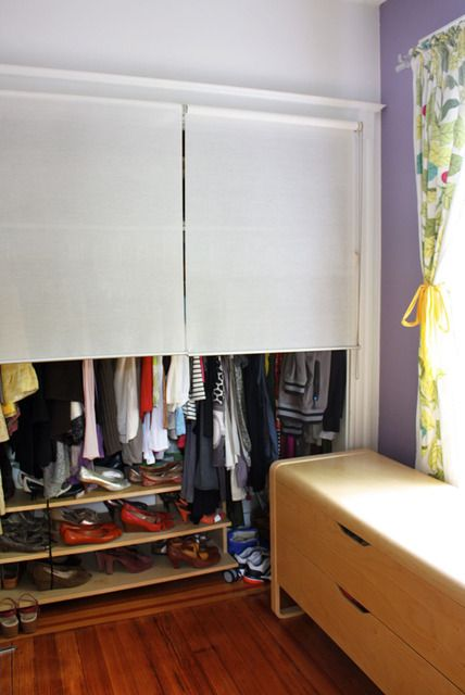 Superieur Great Open Closet Idea: Pull Down Roll Blinds. I Had Thought To Use Some
