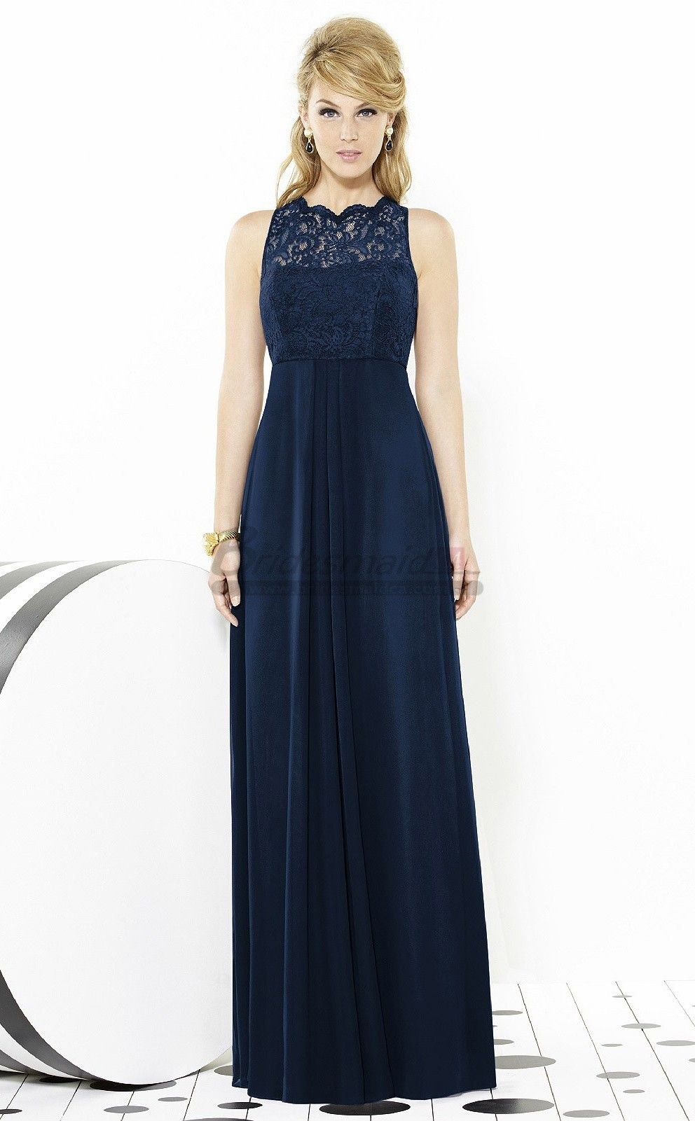 Navy blue long lace chiffon empire waist bridesmaid dresses navy blue long lace chiffon empire waist bridesmaid dresses ombrellifo Choice Image