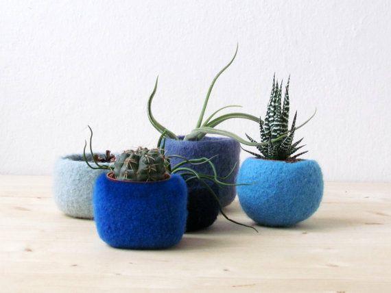 Felt Planter Collectio by @Stella Menagia Melgrati, $95.00 #handmade #felt #planter #pot #blue