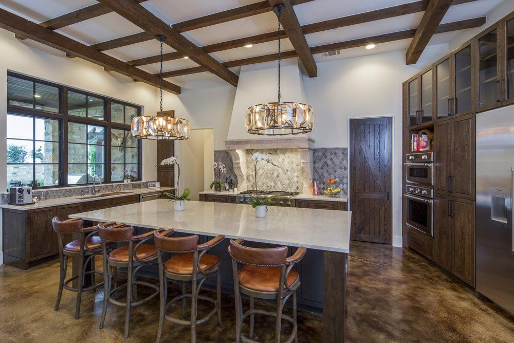 Contemporary Italian Farmhouse Kitchen With Wood Beams And