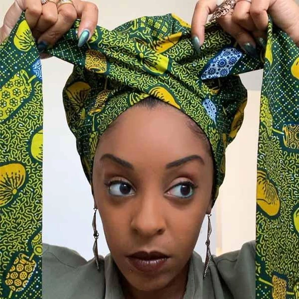 Creative Head Wrap With Full Satin Inner African Wax Cotton Game Changer African Hair Wrap Head Wraps Hair Wrap Scarf