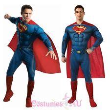 Superman El Hombre De Acero Deluxe con parte delantera superhéroe Halloween Disfraz Adulto