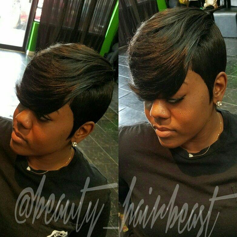 Short Hair Raxorcut Bangs Layers Weavehairstyles Quick Weave Hairstyles Short Quick Weave Hairstyles Short Hair Styles
