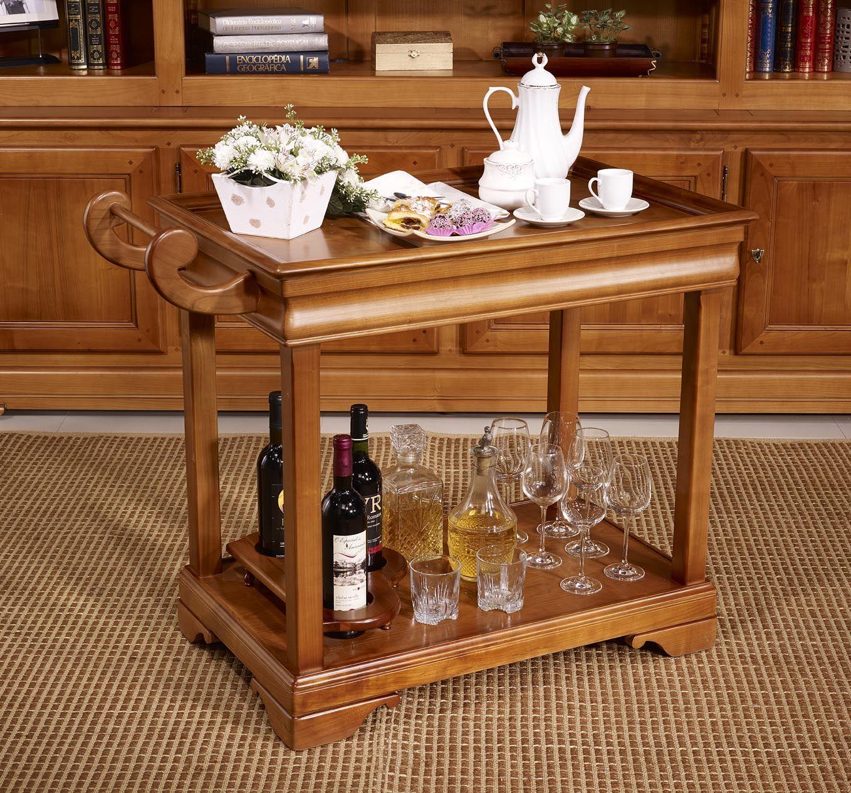 Http Www Meubles Bois Massif Fr Table Desserte Roulante En  # Meuble Tv Merisier Style Louis Philippe