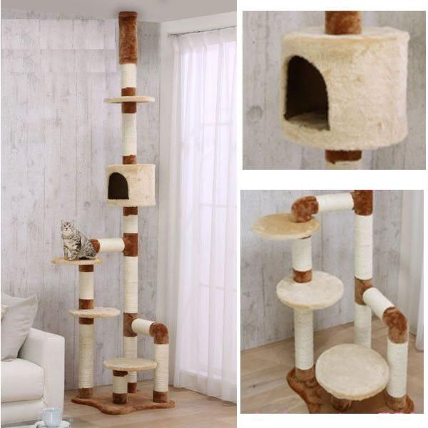 Catland Floor To Ceiling Cat Tree W Cubby Ledge And