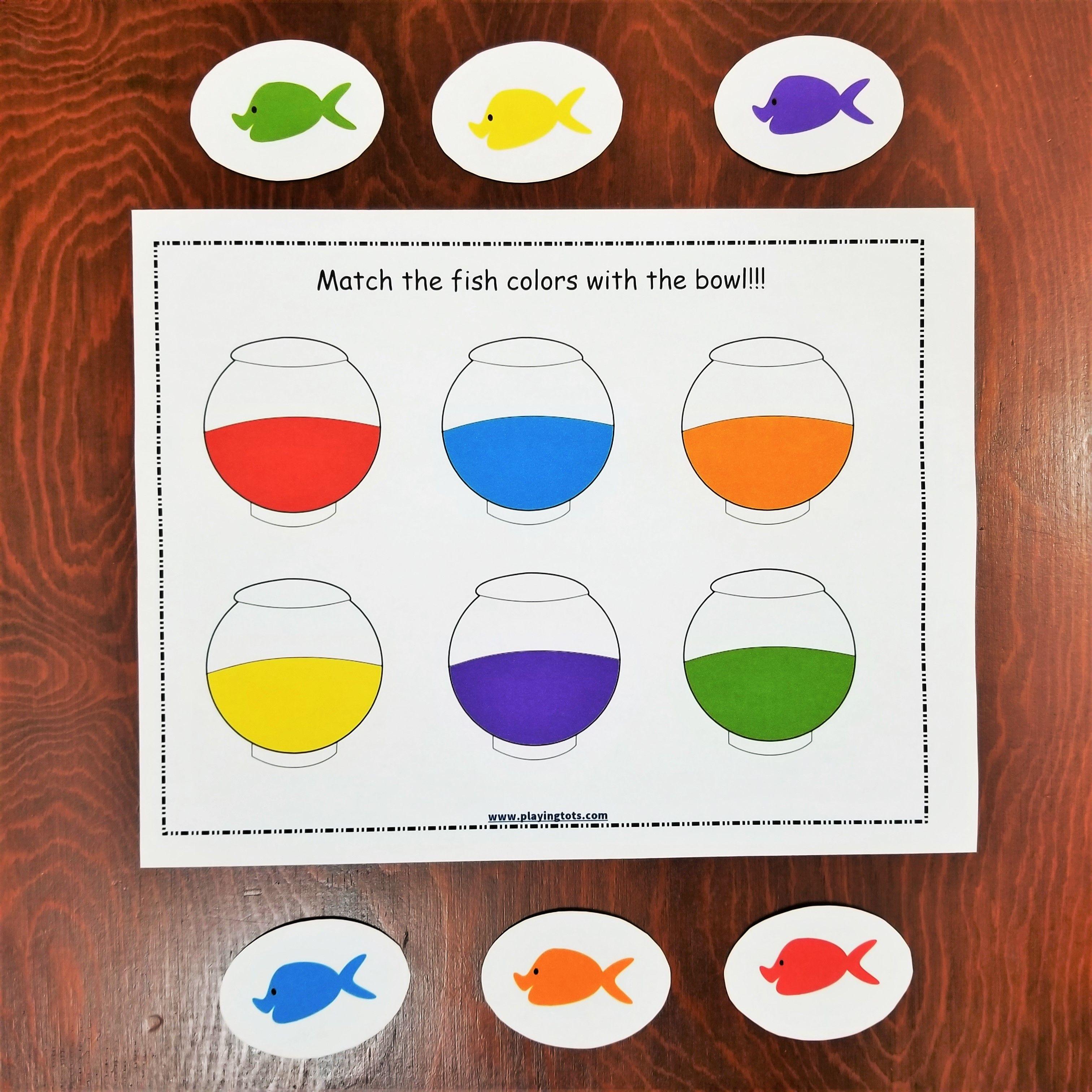 Keywords Matching Activities Fish Colors Bowl Pet Toddler