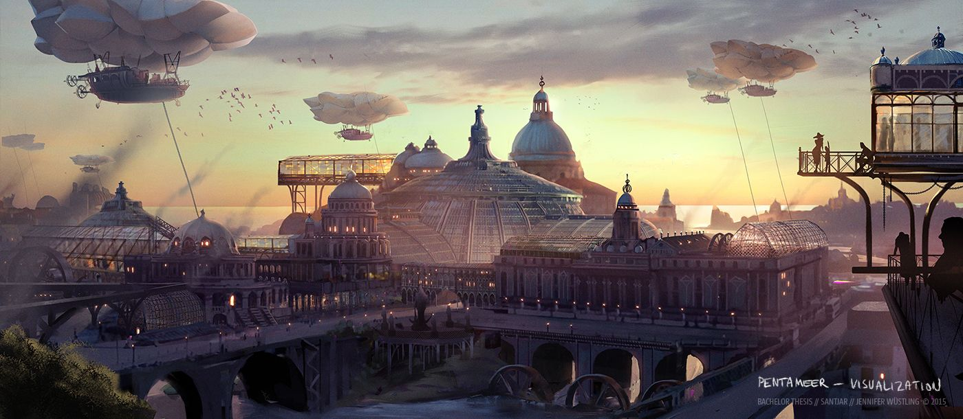 steampunk landscape by grimdreamart - photo #33