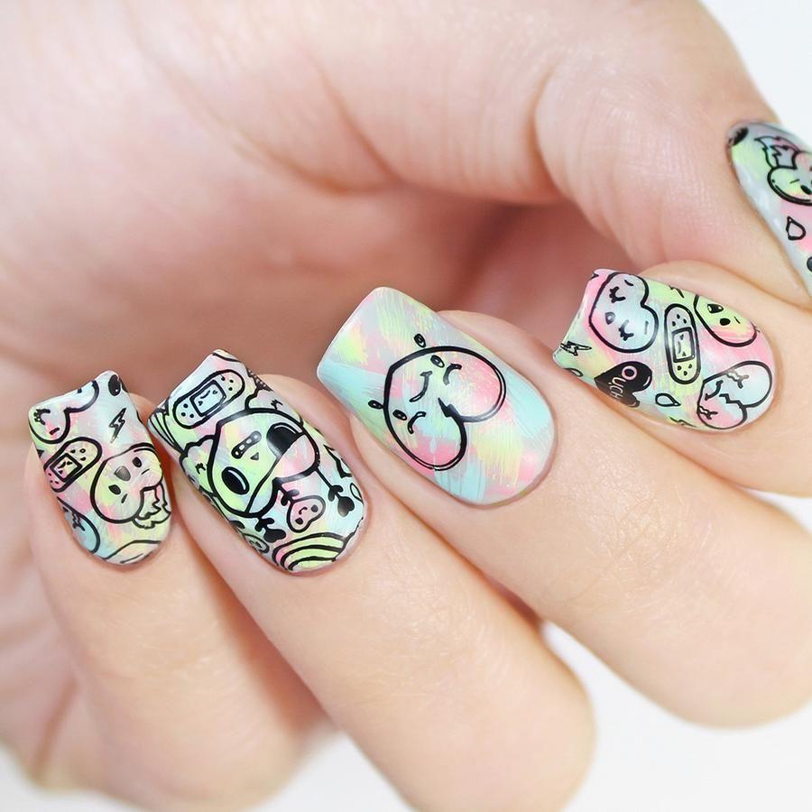 Kawaii Cute Japanese Art Emojis Travel Passport Boat Plane Nail Art Stamping Plates Best Nail Art Designs Cute Nails