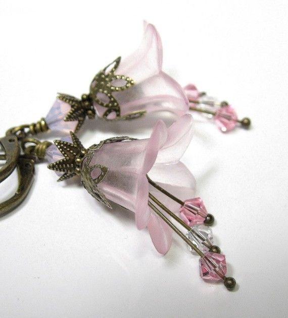 Earrings Handcrafted in a Pale Pink Frosted Glass Hanging