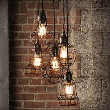 cage m tallique luminaire suspendu industriel shabby chic charme cottage rustique loft. Black Bedroom Furniture Sets. Home Design Ideas