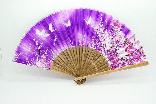 Japanese Folding Blue Butterfly Silk Hand Held Flower Bamboo Wedding Decor Fan
