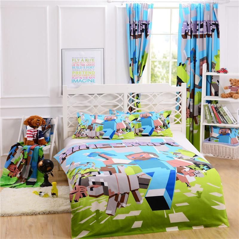 Best Quality Free Match Minecraft Bedding Curtain Pillow