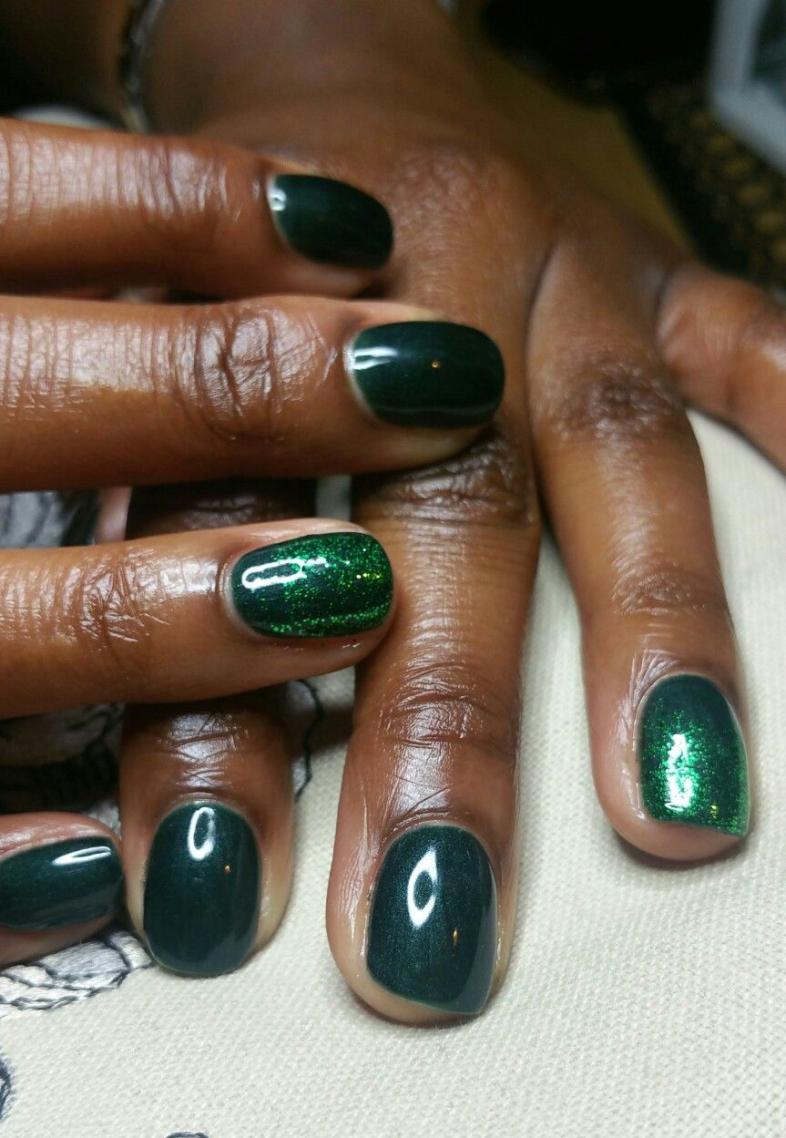 Dark pearly green shellac with glitter   Nails   Pinterest