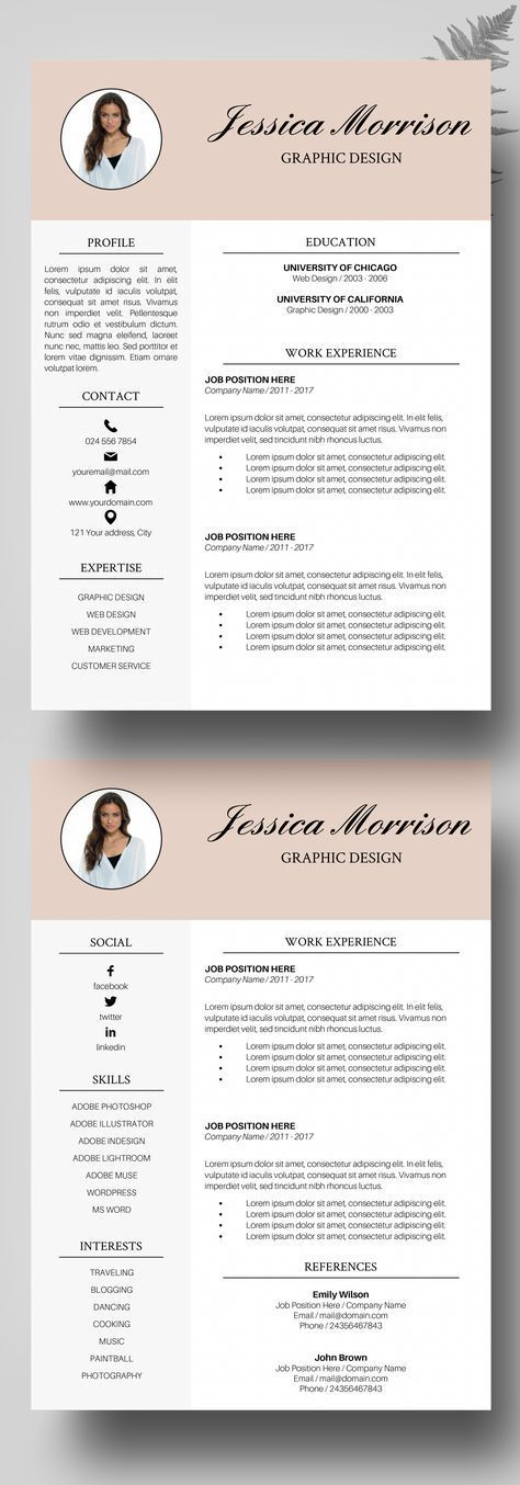 Photo Resume Template, Resume Instant Download, CV Template Word