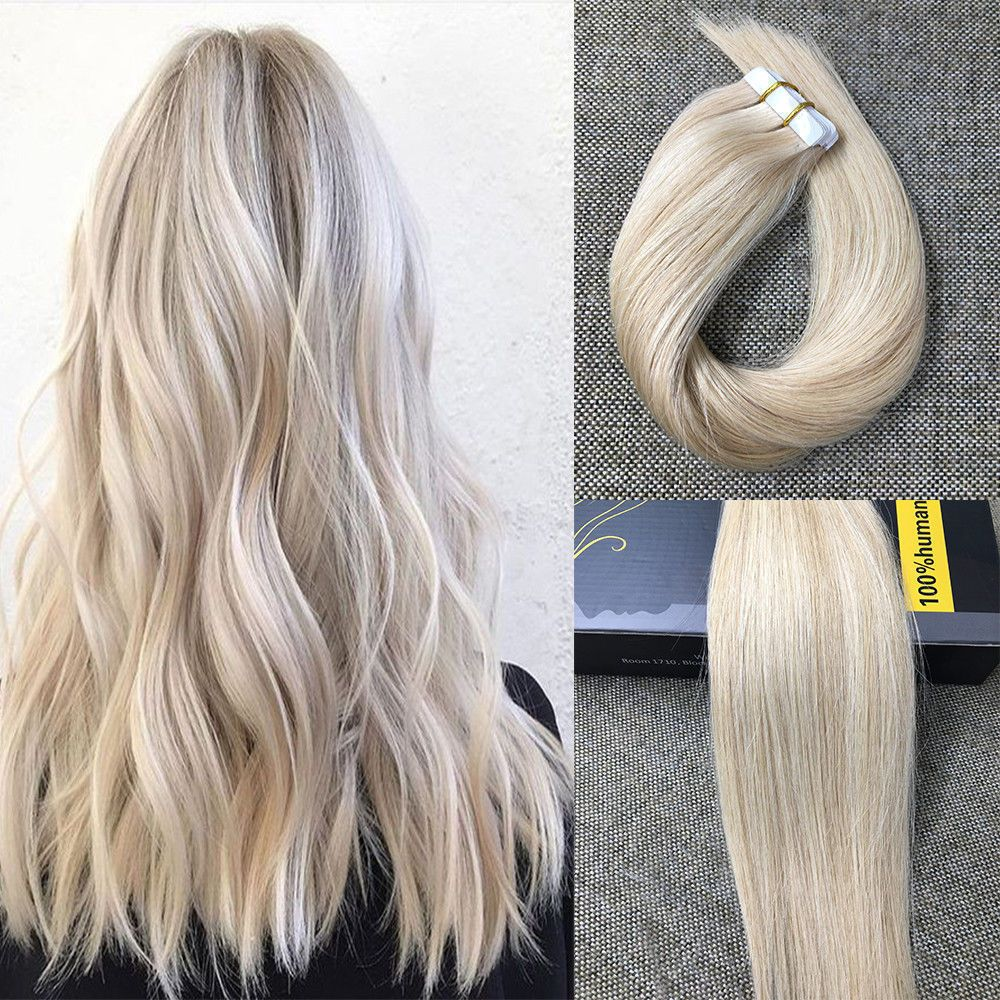5pcs 16 Piano Tape In Hair Extensions Ash Blonde And Bleach