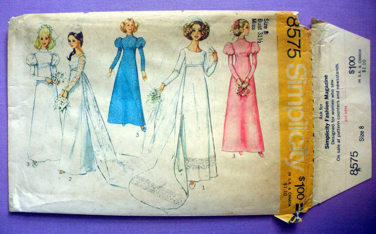 Simplicity 8575 UNCUT 1970's Wedding Gown or Bridesmaid
