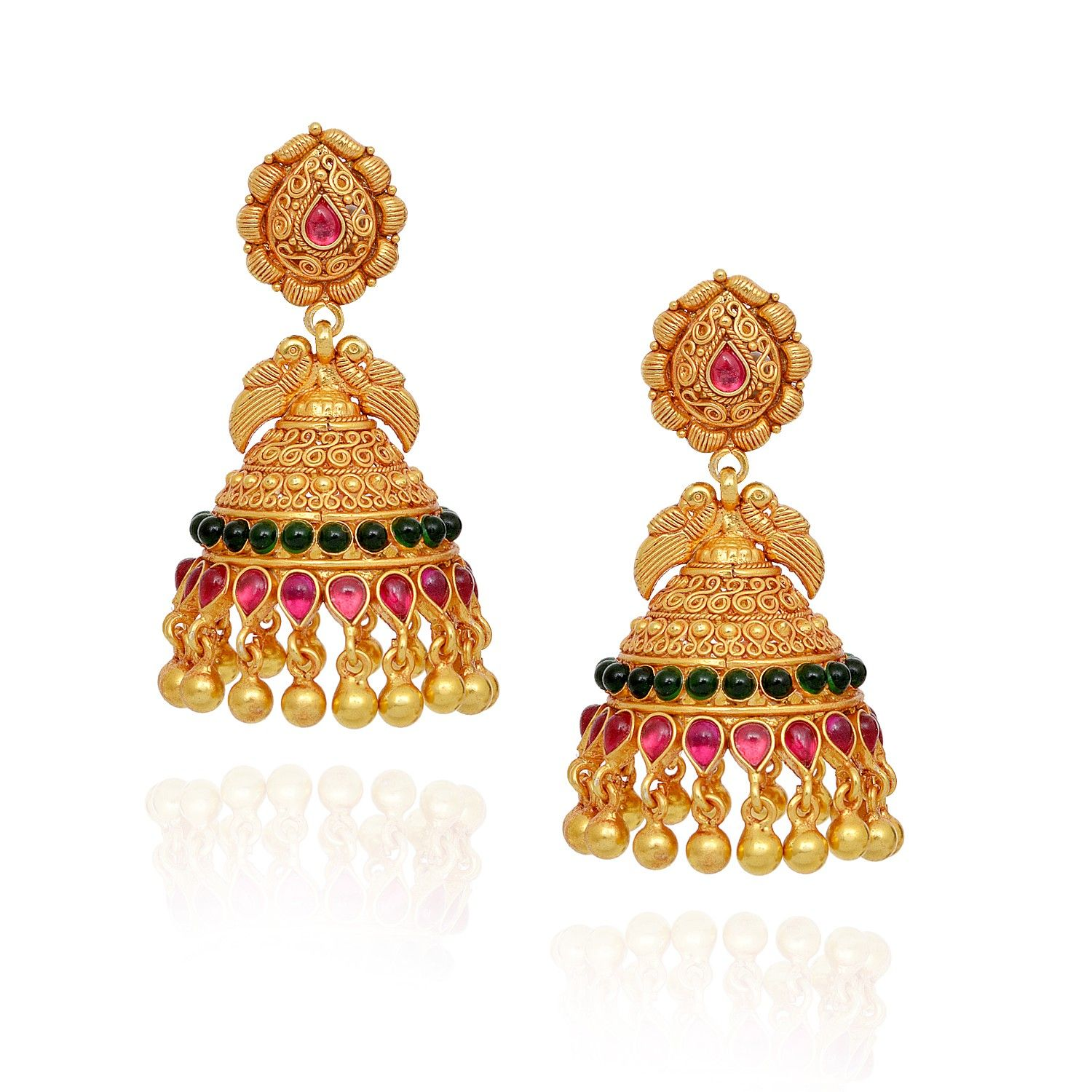 Jhumki Earrings Red Green Stones Studded Annapakshi With Yellow Silver Jimmiki