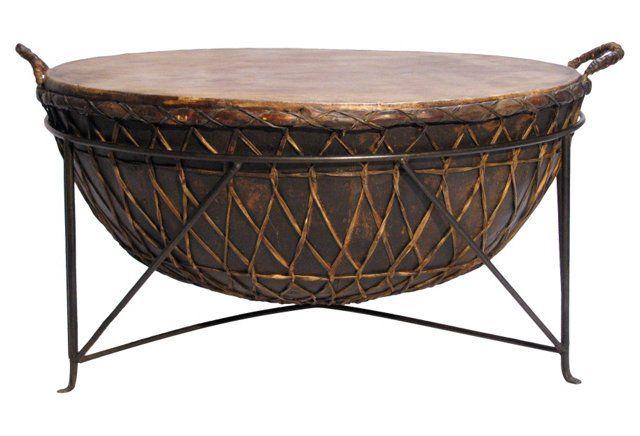 Lovely Metal U0026 Rawhide Kettle Drum Table