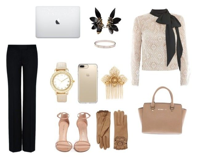 """Work2"" by gabiih-gimenez ❤ liked on Polyvore featuring Victor Xenia, STELLA McCARTNEY, Stuart Weitzman, Michael Kors, Chico's, Marni, Cartier, Speck, Burberry and Miriam Haskell"
