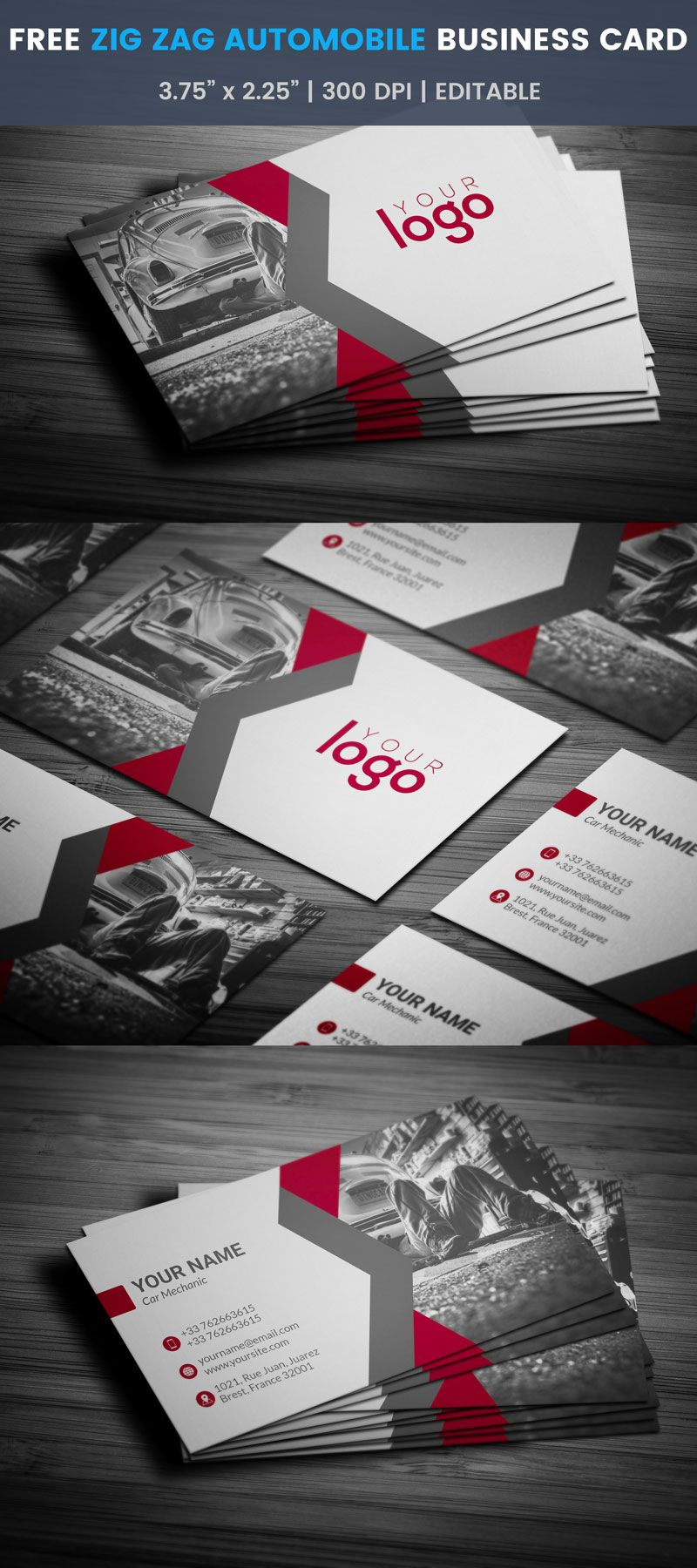 Zigzag Automobile Business Card - Full Preview | Free Automotive ...