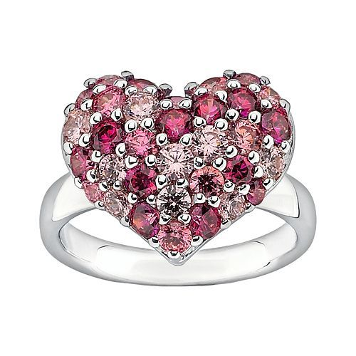 6a2d5c2b7 Lotopia Sterling Silver Heart Cluster Ring - Made with Swarovski Cubic  Zirconia Hart Shape, Heart