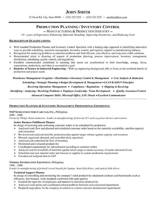 A professional resume template for a Production Planner or Inventory