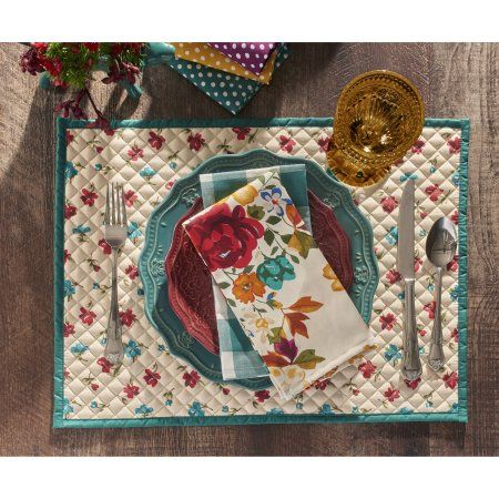 The Pioneer Woman Posies Reversible Placemats Pack Of 4 Walmart Com Pioneer Woman Kitchen Pioneer Woman Kitchen Decor Pioneer Woman