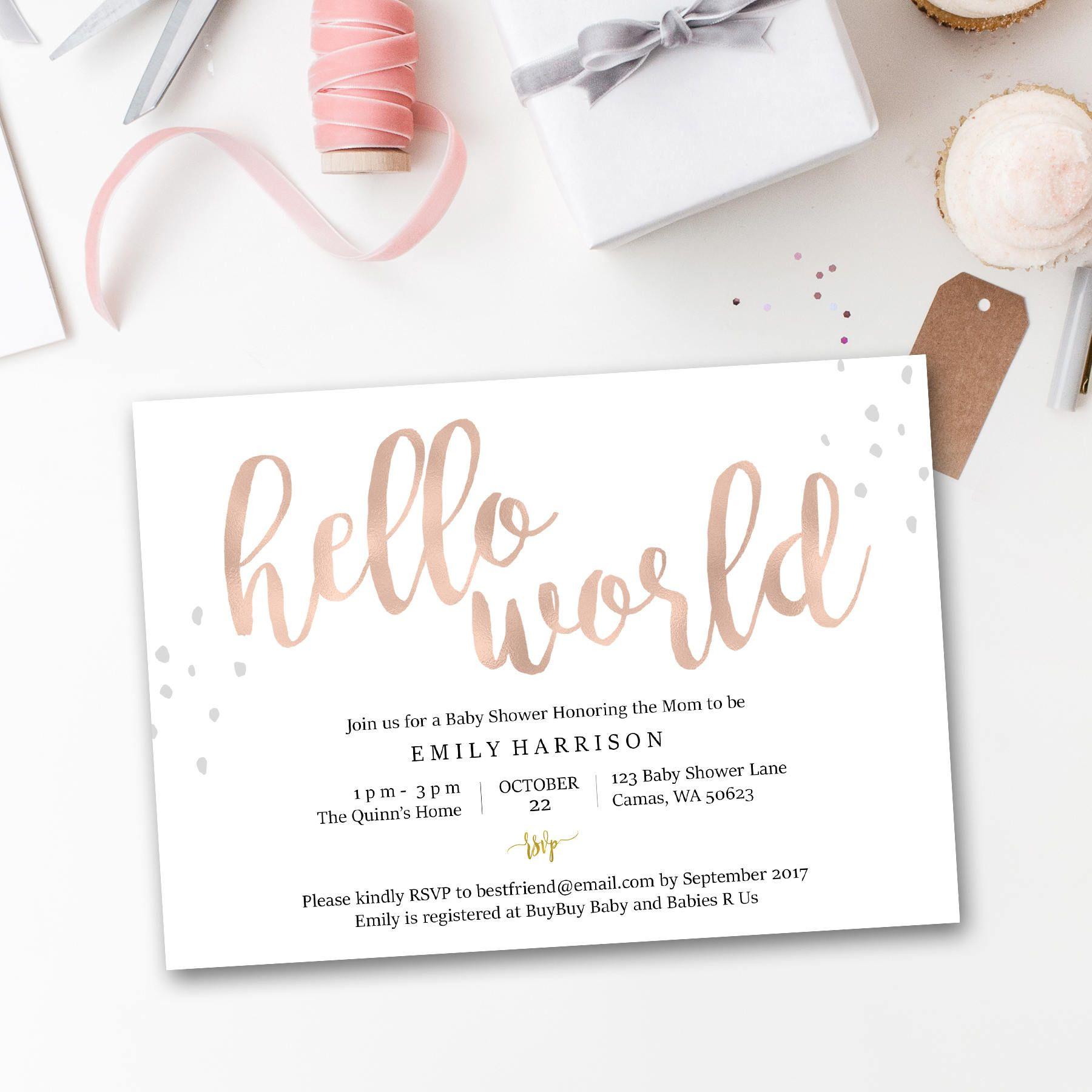 Hello World Baby Shower Invitation Printable Baby Shower Etsy Baby Shower Invitations Rose Gold Baby Shower Baby Shower Inspiration