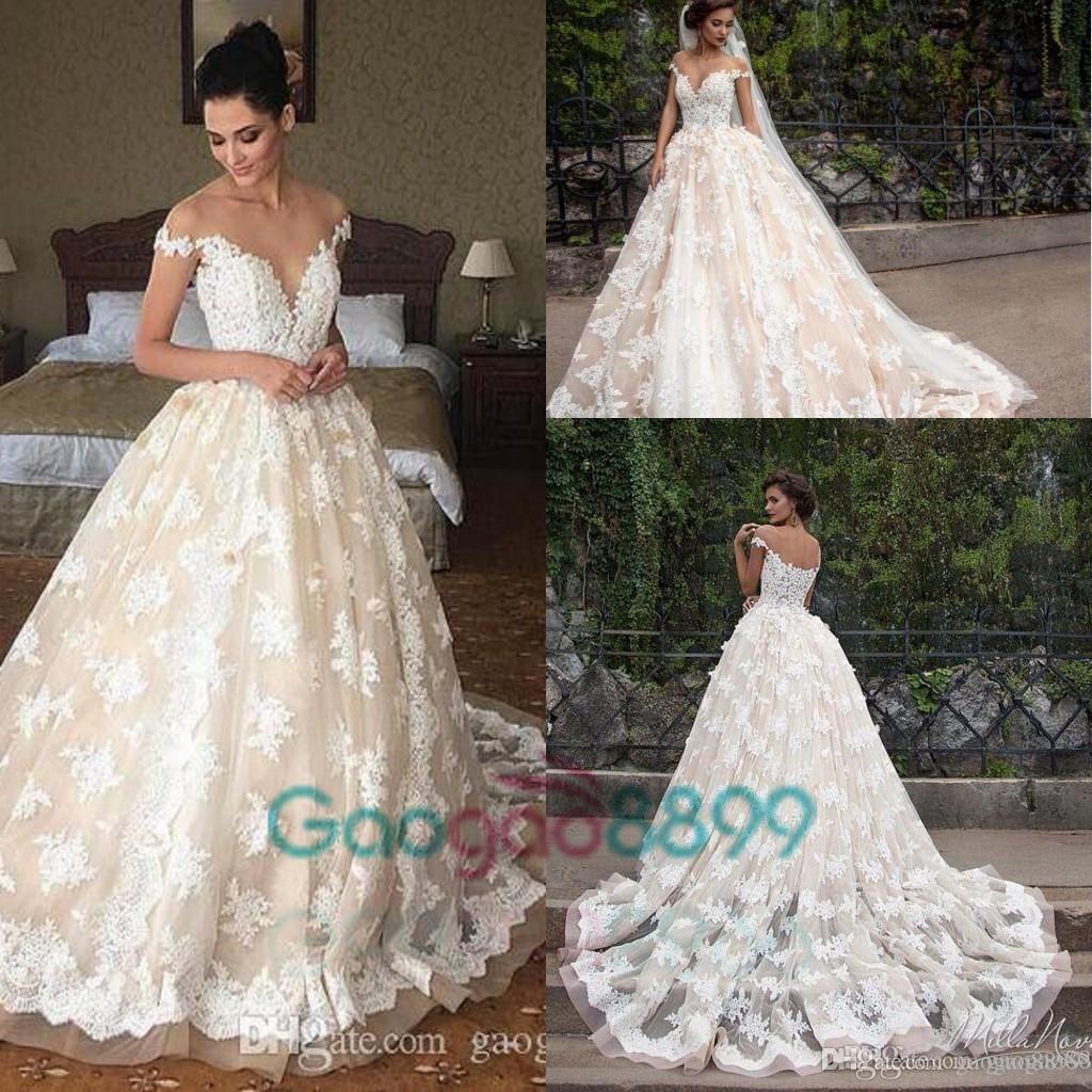 Cheap lace applique princess country wedding dresses berta
