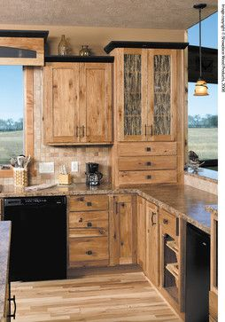 Hickory Cabinets With Glass Insert Also Darker Crown